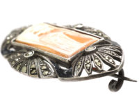 Silver & Marcasite Carved Shell Cameo Brooch by Theodor Fahrner