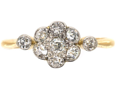 Edwardian 18ct Gold & Platinum, Diamond Cluster Ring With Diamond Set Shoulders