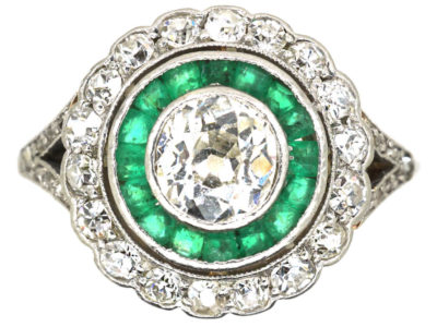 Art Deco 14ct Gold & Platinum, Diamond & Emerald Target Ring