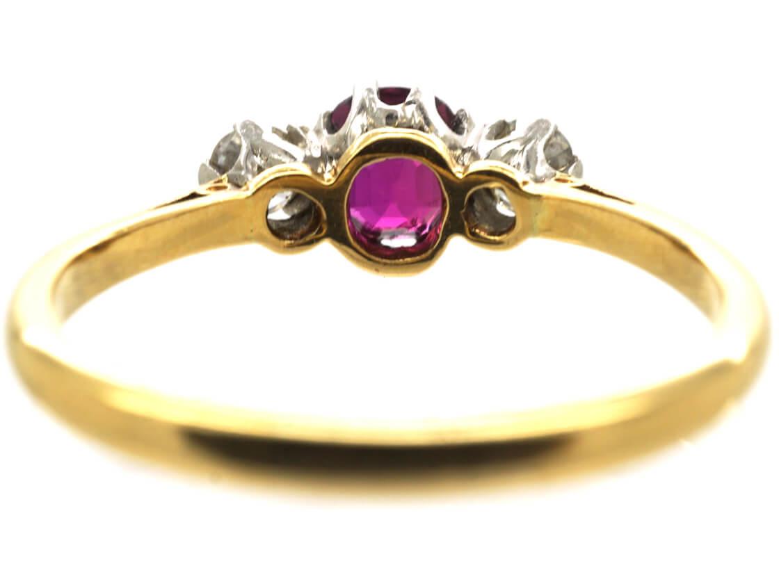 Art Deco 18ct Gold, Ruby & Diamond Three Stone Ring