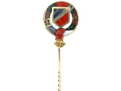 Scottish 15ct Gold, Bloodstone, Agate & Jasper Garter Tie Pin