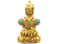 Regency Two Colour Gold Seal set with Turquoise for Forget Me Not