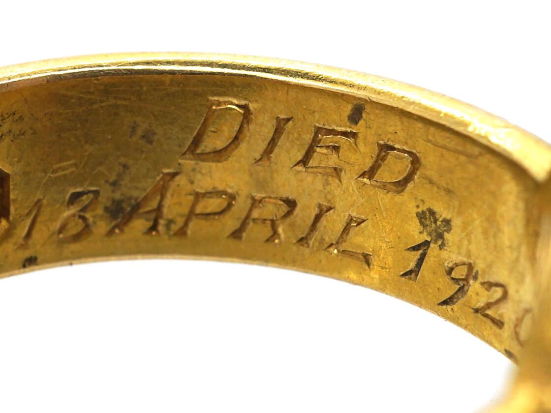 Victorian 18ct Gold, Diamond & Black Enamel Mourning Ring