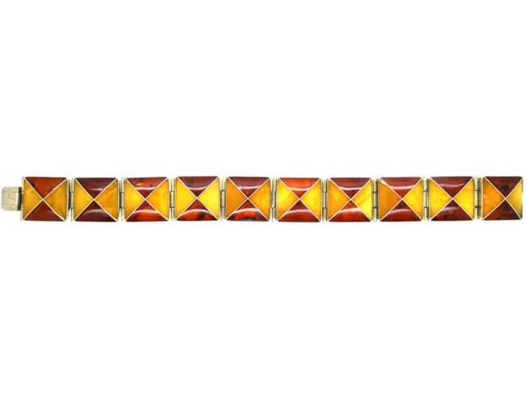 Silver & Two Colour Baltic Amber Bracelet