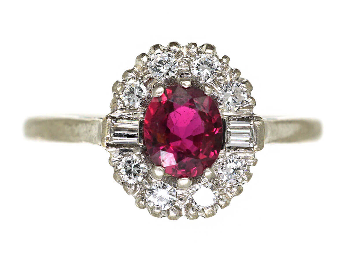 'Pigeon's blood' colour on an Art Deco 18ct White Gold & Platinum, Ruby & Diamond Cluster Ring
