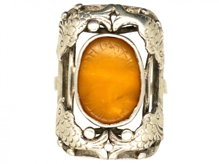Silver Amber Fishes Ring