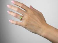 Victorian 18ct Gold, Green Garnet & Diamond Three Stone Gypsy Ring
