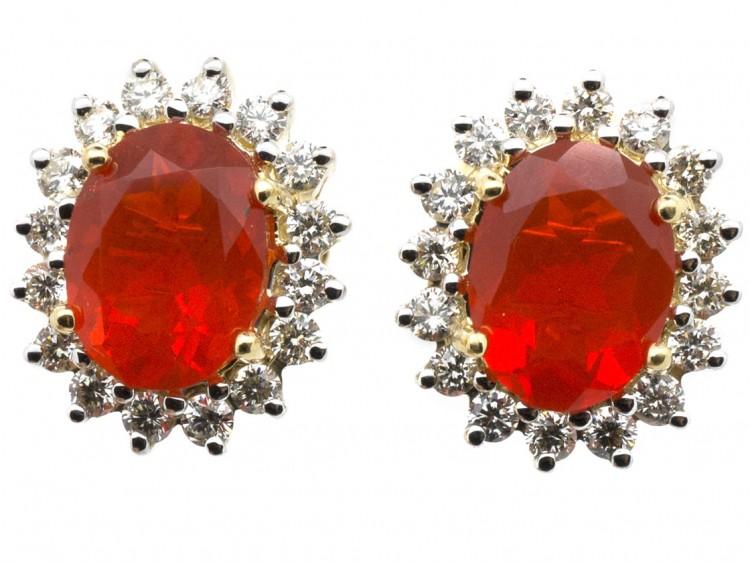 Fire Opal & Diamond Earrings