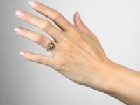 Victorian 18ct Gold, Blue Enamel & Diamond Swirl Ring