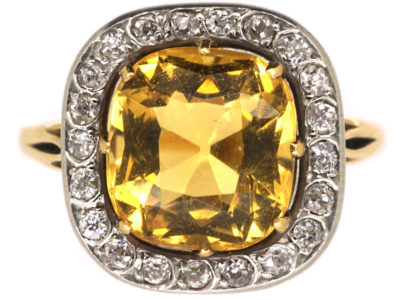 Art Deco 18ct Gold & Platinum, Citrine & Diamond Ring