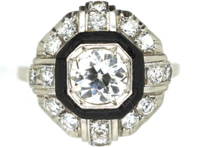 Art Deco Platinum, Diamond & Vulcanite Ring