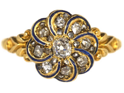 Victorian 18ct Gold, Blue Enamel & Diamond Swirl Ring