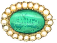 Georgian 9ct Gold, Malachite & Natural Split Pearl Oval Brooch