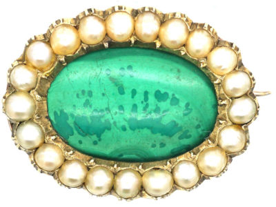 Georgian 9ct Gold, Malachite & Natural Split Pearl Oval Brooch