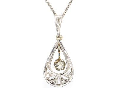French 18ct White & Yellow Gold Art Deco Diamond Pendant on 18ct White Gold Chain