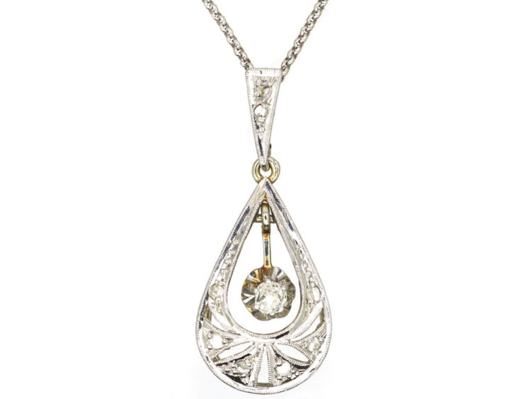 7a141c26426b4 French 18ct White & Yellow Gold Art Deco Diamond Pendant on 18ct White Gold  Chain - The Antique Jewellery Company