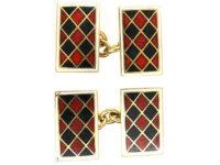 Art Deco 18ct Gold, Red & Black Enamel Rectangular Cufflinks