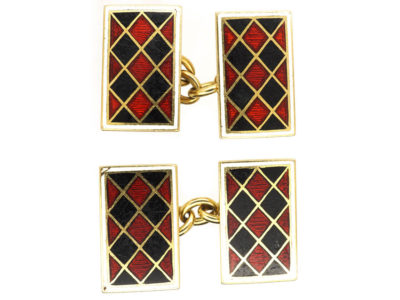 Art Deco 18ct Gold, Red & Black Enamel Rectangular Cufflinks