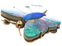 Edwardian 9ct Gold & Opal Doublet Butterfly Brooch