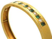 Victorian 18ct Gold Emerald & Diamond Bangle