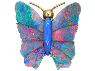 Edwardian 9ct Gold & Opal Doublet Butterfly Brooch
