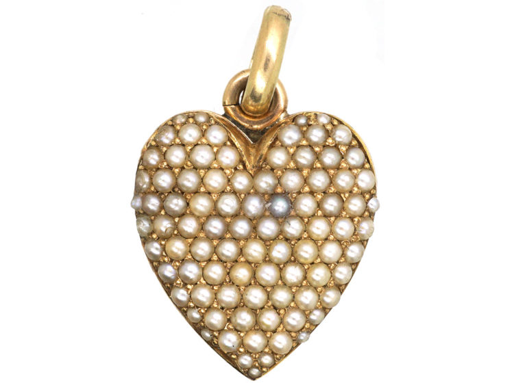 Edwardian 14ct Gold & natural Split Pearl double Sided Heart Shaped Locket