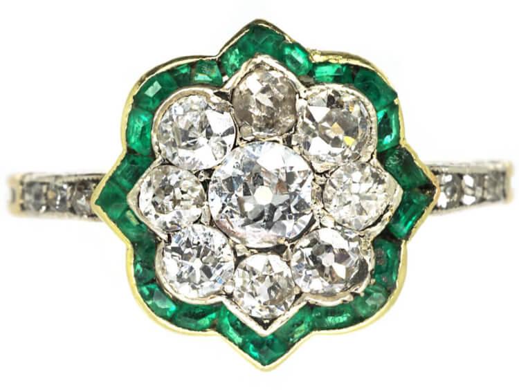 Art Deco 18ct Gold & Platinum, Emerald & Diamond Cluster Ring