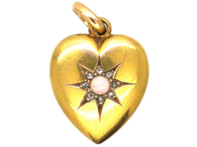 Edwardian 15ct Gold Rose Diamond & Opal Heart Shaped Pendant
