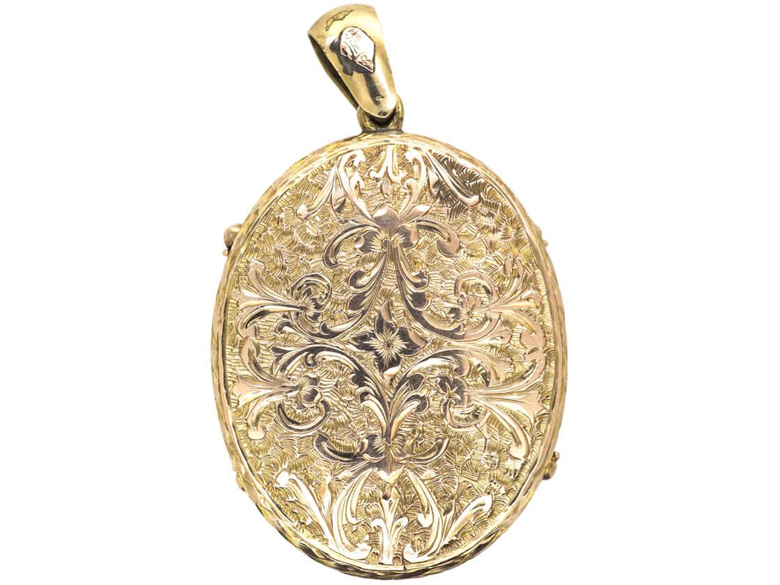 Victorian 9ct Gold, Forget Me Not Enamel & Natural Split Pearl Oval Locket