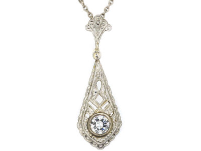 Art Deco 14ct White Gold Diamond Solitaire Pendant on 14ct White Gold Chain