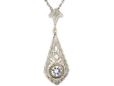 Art Deco 14ct White Gold Diamond Solitaire Pendant on 14ct White Gold Chain