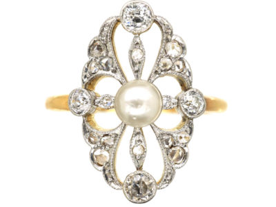 Edwardian 14ct Gold & Platinum, Pearl & Diamond Ring