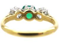 Art Deco 18ct Gold & Platinum, Emerald & Diamond Three Stone Ring