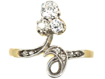 Art Nouveau 18ct Gold & Platinum Three Stone Diamond Ring
