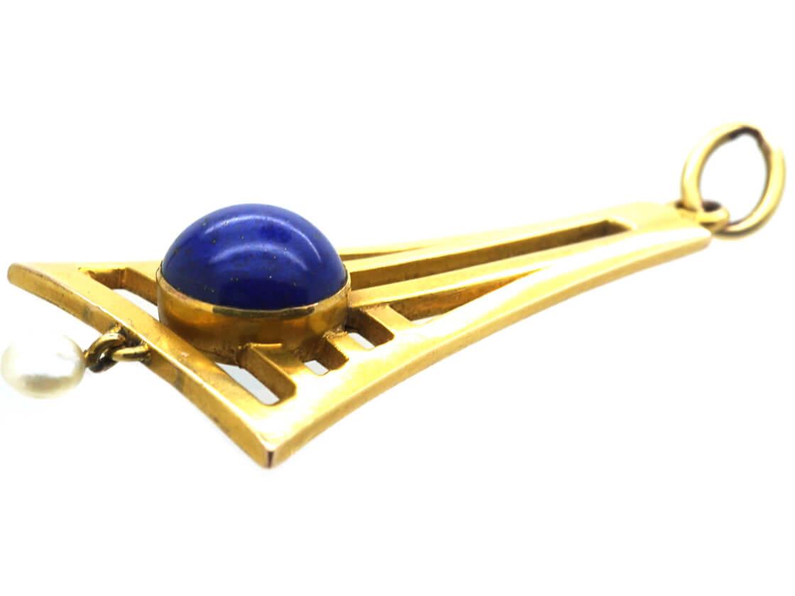 Art Deco 14ct Gold, Lapis Lazuli & Pearl Pendant