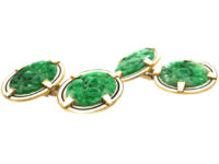 Art Deco 18ct Gold, Jade & White Enamel Oval Cufflinks