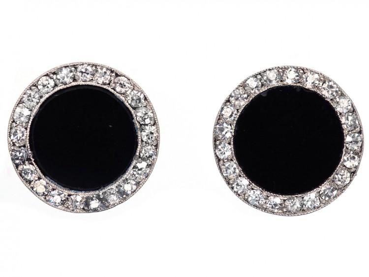 Art Deco Diamond & Onyx Round Earrings