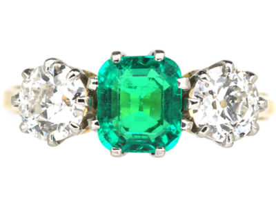 Art Deco 18ct Gold & Platinum, Emerald & Diamond Three Stone Ring
