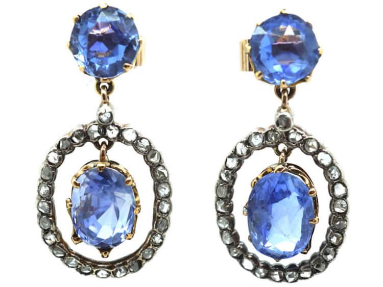 Edwardian Ceylon Sapphire & Rose Diamond Drop Earrings