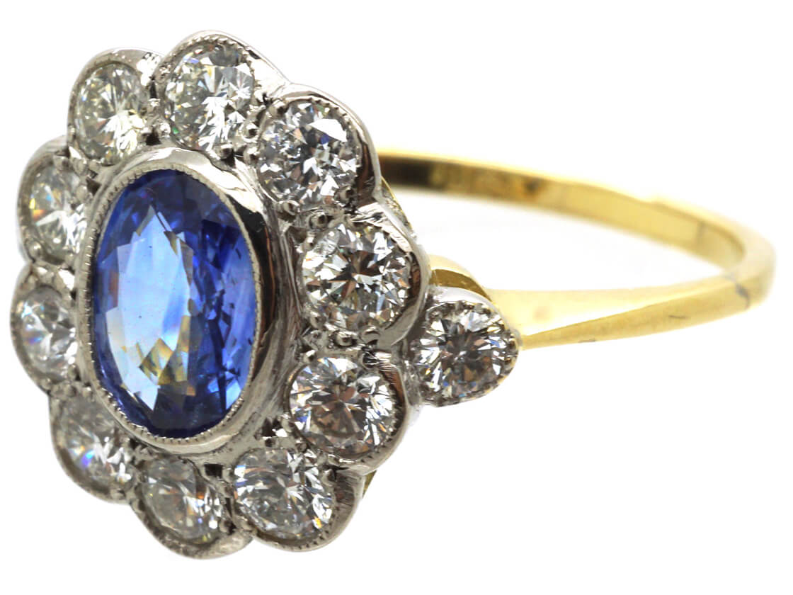 Art Deco 18ct White & Yellow Gold, Sapphire & Diamond Oval Cluster Ring