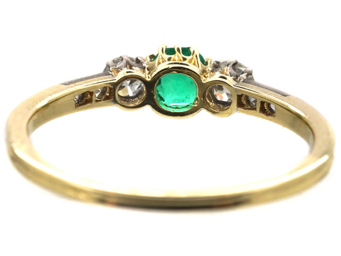 14ct Gold, Emerald & Diamond Ring