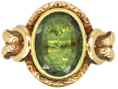 Victorian 15ct Gold & Tourmaline Ornate Signet Ring