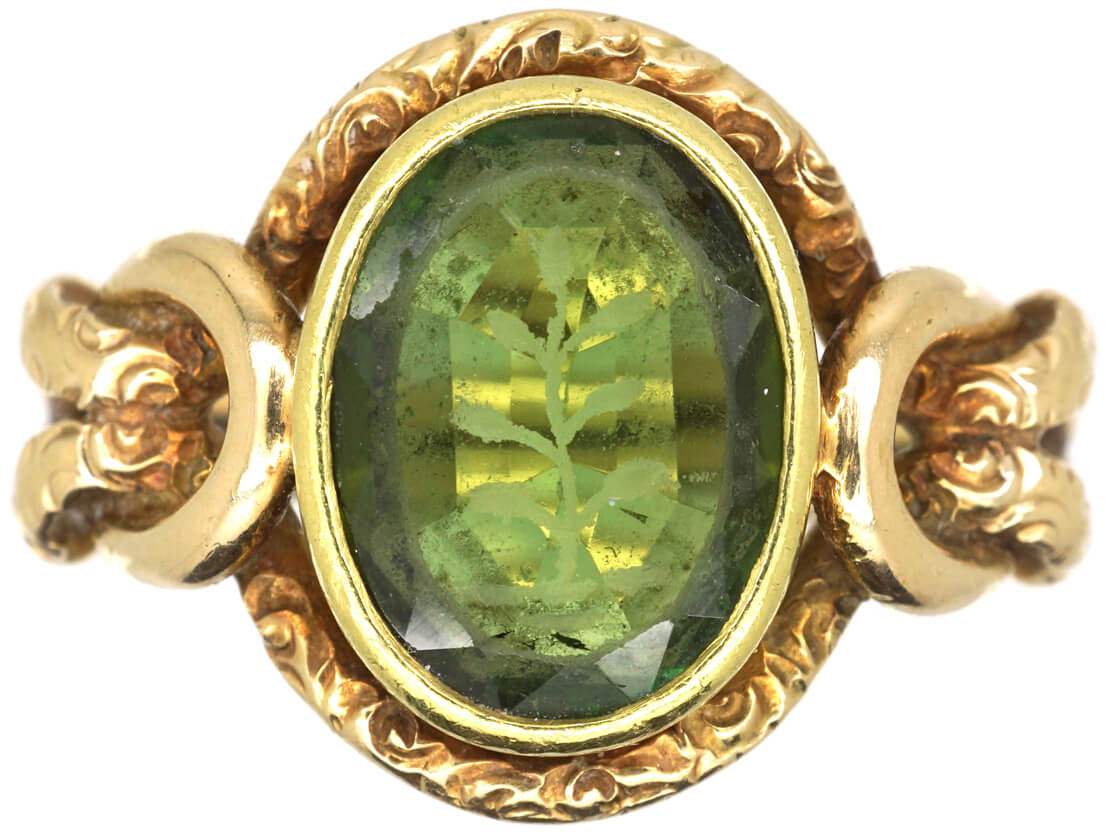 Victorian 15ct Gold & Tourmaline Ornate Signet Ring