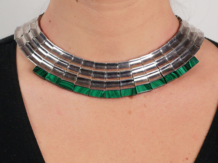 Mexican Silver & Malachite Collar by the Monteros Workshop