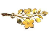 Edwardian 9ct Gold, Garnet & Natural Split Pearls Flower Spray Brooch