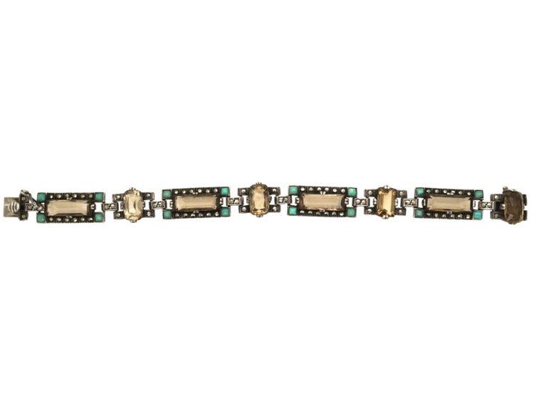 Art Deco Silver, Marcasite, Smokey Quartz & Amazonite Bracelet by Theodor Fahrner