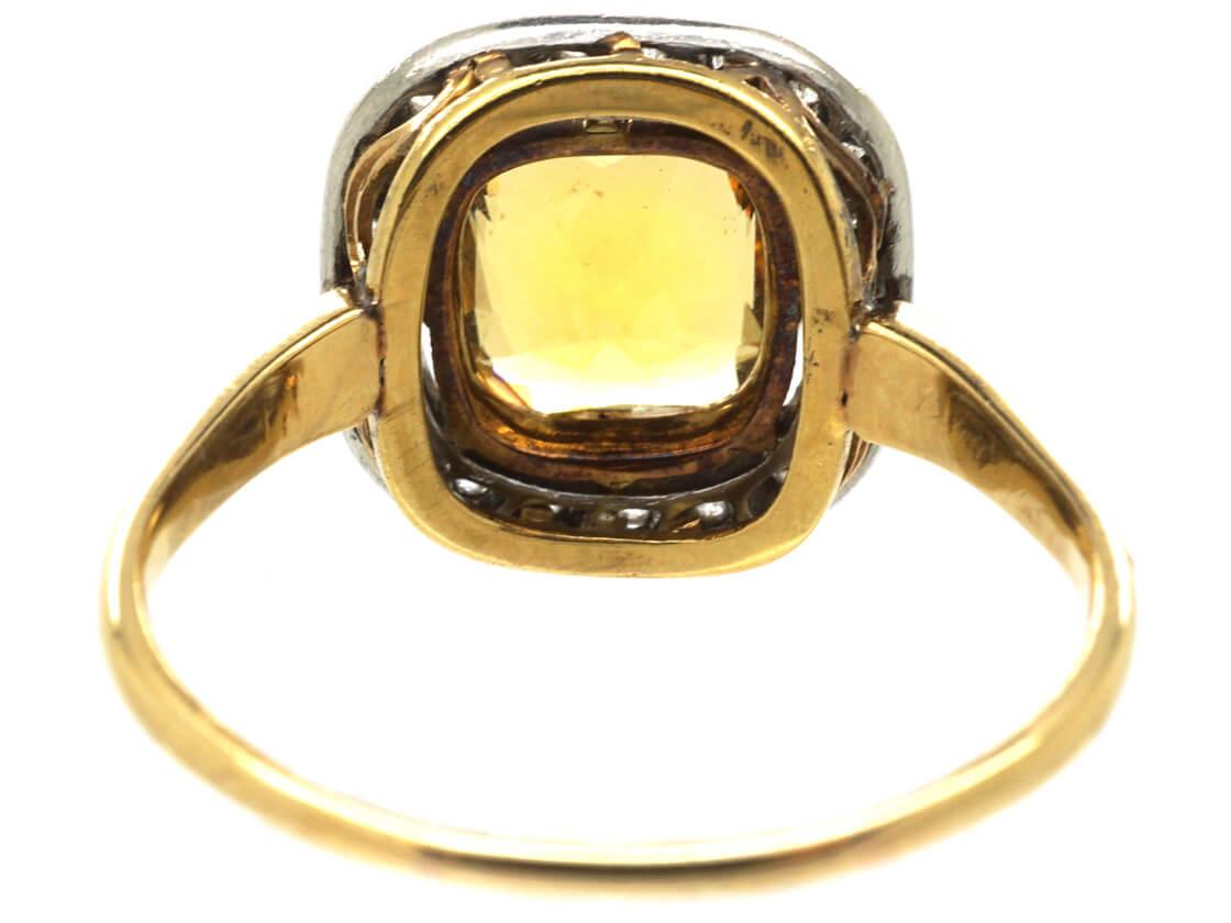Art Deco 18ct Gold & Platinum, Citrine & Diamond Ring