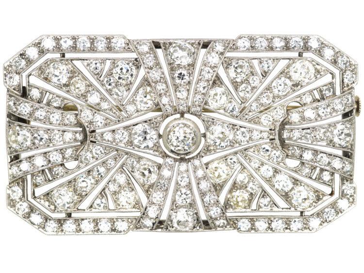 Large Art Deco Platinum & Diamond Rectangular Brooch