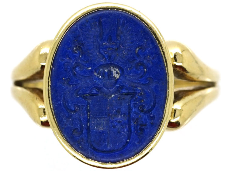 14ct Gold & Lapis Signet Ring With Intaglio of Crest