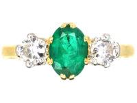 18ct Gold, Emerald & Diamond Three Stone Ring